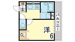 兵庫県神戸市須磨区村雨町5丁目の賃貸アパートの間取り