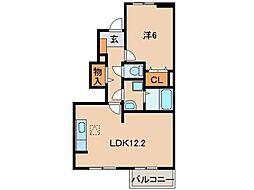 JR和歌山線 下井阪駅 徒歩6分の賃貸アパート 1階1LDKの間取り
