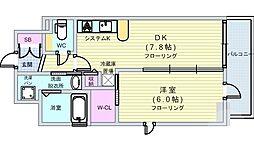 エステムコート難波Vブロード 10階1LDKの間取り