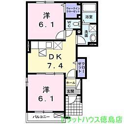 徳島県小松島市金磯町の賃貸アパートの間取り
