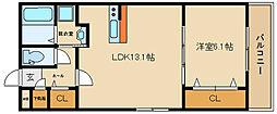ステラウッド恵美坂 3階1LDKの間取り