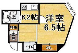 福岡県福岡市中央区渡辺通5丁目の賃貸アパートの間取り
