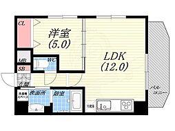 ダブルナインレジデンス西宮 8階1LDKの間取り