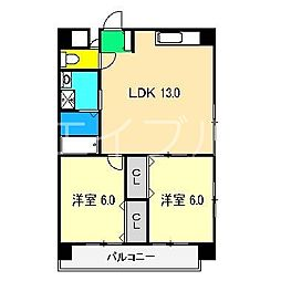 高知県高知市北本町3丁目の賃貸マンションの間取り