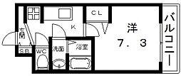 ララプレイス四天王寺前夕陽ヶ丘プルミエ 4階1Kの間取り