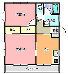 キャッスル藤咲 B[102号室]の間取り