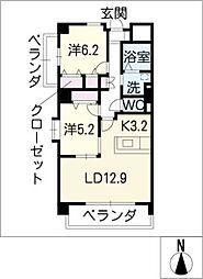 エクセレント高見[6階]の間取り