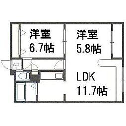 ホークメゾン札幌3号館[106号室]の間取り