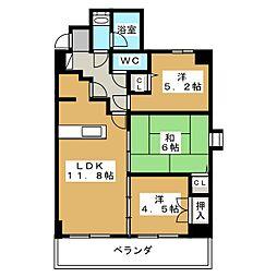 デ・リード堀川東[3階]の間取り