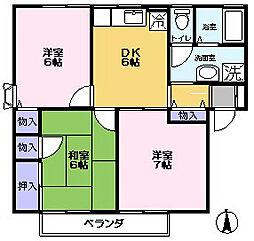 リバーハイツTAKAHASHI B[202号室]の間取り