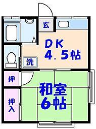 ハイツナカムラ[B201号室]の間取り