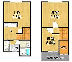 [テラスハウス] 兵庫県伊丹市春日丘6丁目 の賃貸【/】の間取り