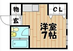 プロシード八戸ノ里[206号室]の間取り