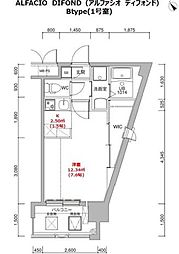 福岡市地下鉄箱崎線 呉服町駅 徒歩12分の賃貸マンション 10階1Kの間取り