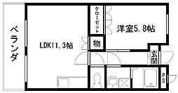 アシューレ東岸和田[207号室]の間取り