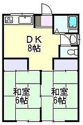 コーポタカダ A[203号室]の間取り
