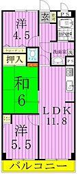 千葉県松戸市六実5の賃貸マンションの間取り