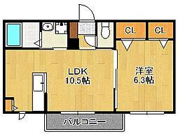 Shamaison M K Ash 2階1LDKの間取り