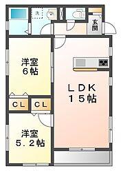 メゾンクニエダIII[1階]の間取り