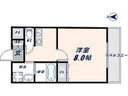 大阪府東大阪市新町の賃貸マンションの間取り