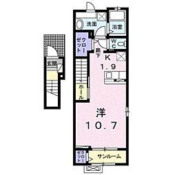 伊予鉄道横河原線 見奈良駅 徒歩7分の賃貸アパート 2階1Kの間取り