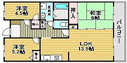 ドミール浜寺[5階]の間取り