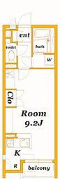 相鉄本線 鶴ヶ峰駅 徒歩21分の賃貸アパート 2階ワンルームの間取り