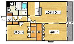 大阪府枚方市大峰元町1丁目の賃貸マンションの間取り