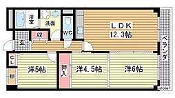 兵庫県神戸市灘区中郷町1丁目の賃貸マンションの間取り