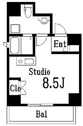 ラ・トルチュ亀戸 5階ワンルームの間取り