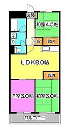 ハイツ竹丘[1階]の間取り