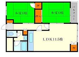 松尾マンション 2階2LDKの間取り