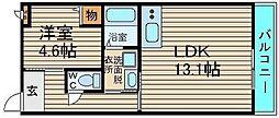 大阪府堺市中区楢葉の賃貸アパートの間取り