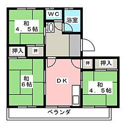 愛知県清須市西枇杷島町南六軒の賃貸マンションの間取り