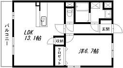 静岡県浜松市南区増楽町の賃貸マンションの間取り