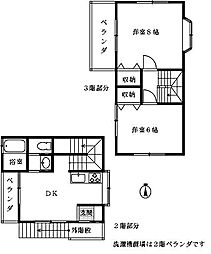 今原貸家[2−3F号室]の間取り