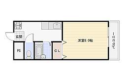 大阪府大阪市平野区長吉長原東3丁目の賃貸マンションの間取り