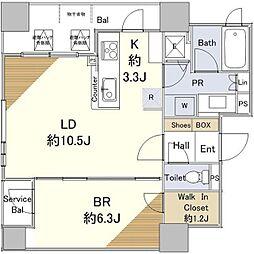 リビオ中島公園アルファタワー 9階1LDKの間取り