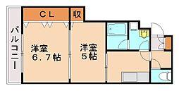 福岡県福岡市城南区片江1丁目の賃貸アパートの間取り