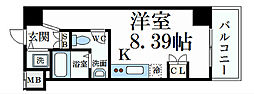 阪神本線 深江駅 徒歩1分の賃貸マンション 4階ワンルームの間取り