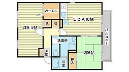 メゾン・ド・ファミーユ A棟[201号室]の間取り