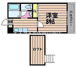 JR瀬戸大橋線 茶屋町駅 徒歩37分の賃貸アパート 2階1Kの間取り
