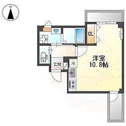 中三国ヶ丘町賃貸マンション新築工事 2階ワンルームの間取り