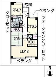 萩原町パークハウス310号室[3階]の間取り