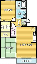 シャイン木村[1階]の間取り
