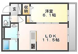 JR宇野線 備前西市駅 徒歩14分の賃貸マンション 1階1LDKの間取り