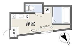 京急本線 立会川駅 徒歩4分の賃貸アパート 1階ワンルームの間取り