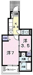 香川県高松市伏石町の賃貸アパートの間取り