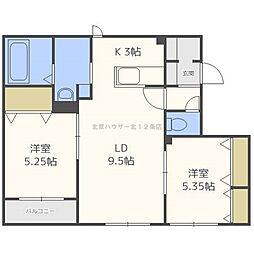 北海道札幌市東区北十四条東2丁目の賃貸アパートの間取り