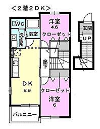 千葉県茂原市七渡の賃貸アパートの間取り